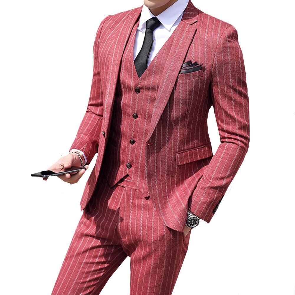 ( Jackets + Vest + Pants )2019 New Men's Fashion Boutique Striped Business Casual Suit Three-piece Groom Wedding Dress Suit Male