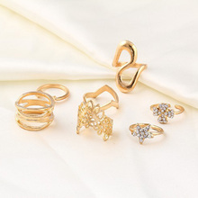 7 pcs/set Charm Gold Color Midi Finger Ring Set for Women Vintage Boho Knuckle Party Rings Punk Jewelry Gift for Gir