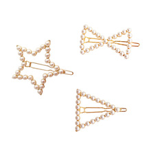 SANSUMMER Sweet Geometric Pentagram Triangular Star And Bow Tie Pearl Hairpin 2019 New Stylish Alloy Plating Hair Jewelry 6084