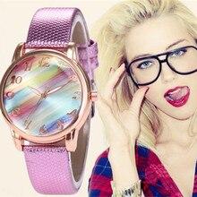 лучшая цена Luxury Brand Women Watches Fashion Colored Fritillary Leather Quartz Wrist Watch Girls Casual Dress Watch Relogio Feminino Clock