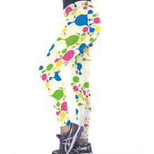 Euro Style sexy women colorized ink dot 3D digital printing high waist workout fitness Women leggings Pants YH2059
