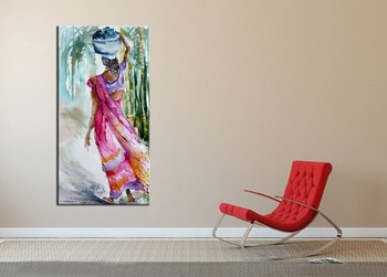 Handmade Calligraphy Home Decoarative Wall Artwork Picture Hand Painted Watercolor Portrait Hindu Woman Oil Painting on Canvas