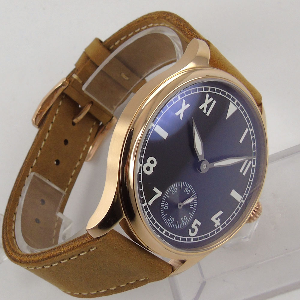 Valentines gifts Romantic 44mm parnis Black Dial Rose Golden Plated Case Leather strap 6498 Hand Wind Mechanical mens Watch