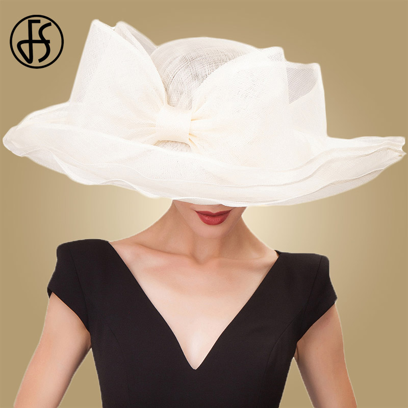 FS Elegant Black Beige White Linen Wedding Hats Bowknot Sinamay Womens Kentucky Derby Hat Ladies Large