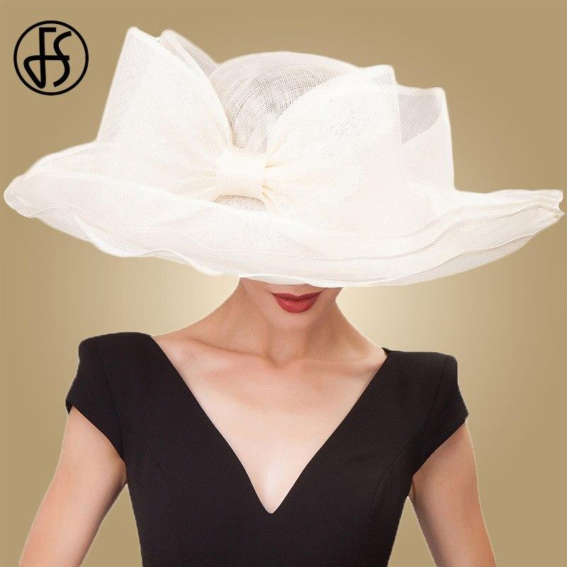 FS Elegante Beige Nero di Lino Bianco Da Sposa Sinamay Cappelli Delle  Signore Delle Donne di 137223d2ec64