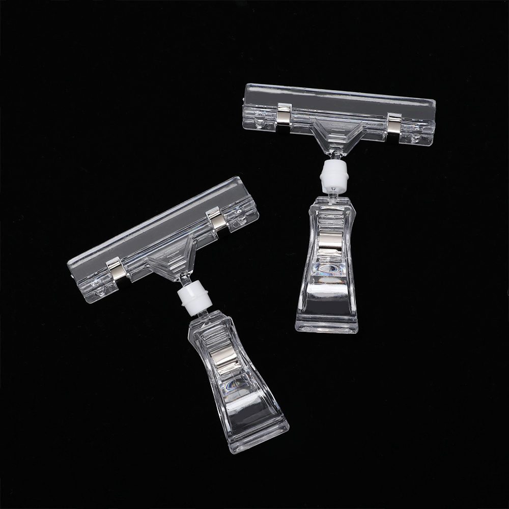 2pcs/lot Clear Transparent Plastic Advertising Clips Plastic Sign Display Price Label Tag Clip Holders In Supermarket Retails