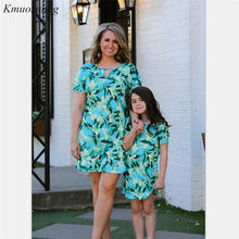 Family Matching Clothes Summer Dress 2019 Print Mother Daughter Dresses Autumn matching outfits Family Look mom daughter C0359 недорого