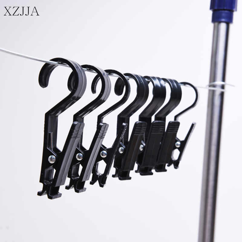 XZJJA 2pcs Super Clamp Force Clothes Pegs Towel Socks Hanging Pegs Plastic clothespin Black Laundry Hangers Store Drapery Clips