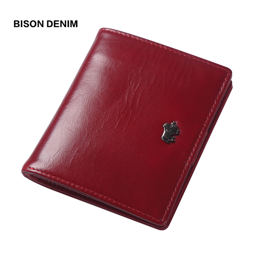 BISON DENIM 2018 Luxury Brand wallets designer women Genuine leather short Wallets Zipper Coin ladies leather