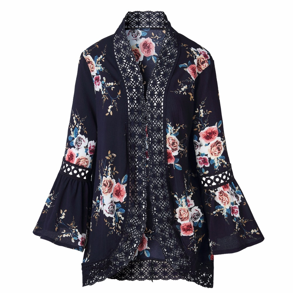 HTB1EvharTJYBeNjy1zeq6yhzVXaS Autumn 2019 Boho Women Jacket Lace Flare Long Sleeve Slim Casual Open Stitch Tops Fashion Women Clothes Spring Shirt Coat Jacket