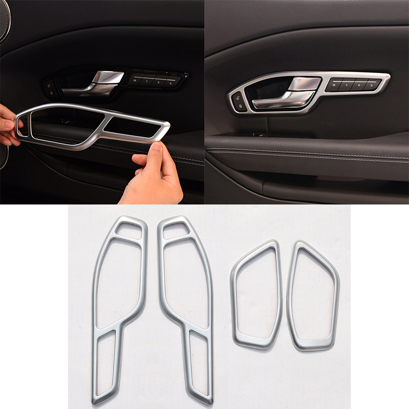4Pcs Silver ABS Chrome Interior Parts Door Handle Frame Trim For Land Rover Range Rover Evoque 2012-2017 Car Accessories