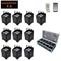 Barato TIPTOP 10 Pack iluminación de boda integrada en 2,4G transceptor recargable inalámbrico DMX con batería Par Can 6in1 + funda de carretera paquete