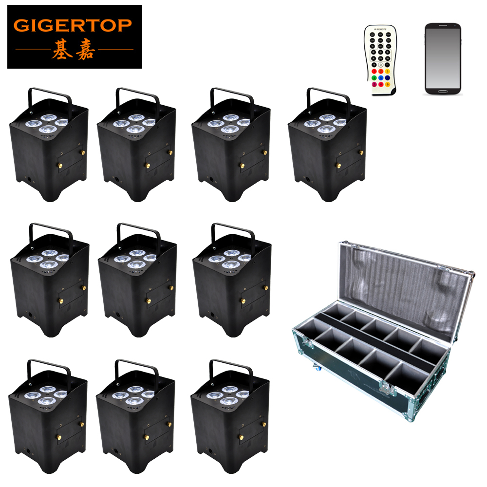 TIPTOP 10 Pack Wedding Lighting Construit dans l'émetteur-récepteur 2.4G rechargeable sans fil DMX alimenté par batterie peut 6in1 + Roadcase Pack