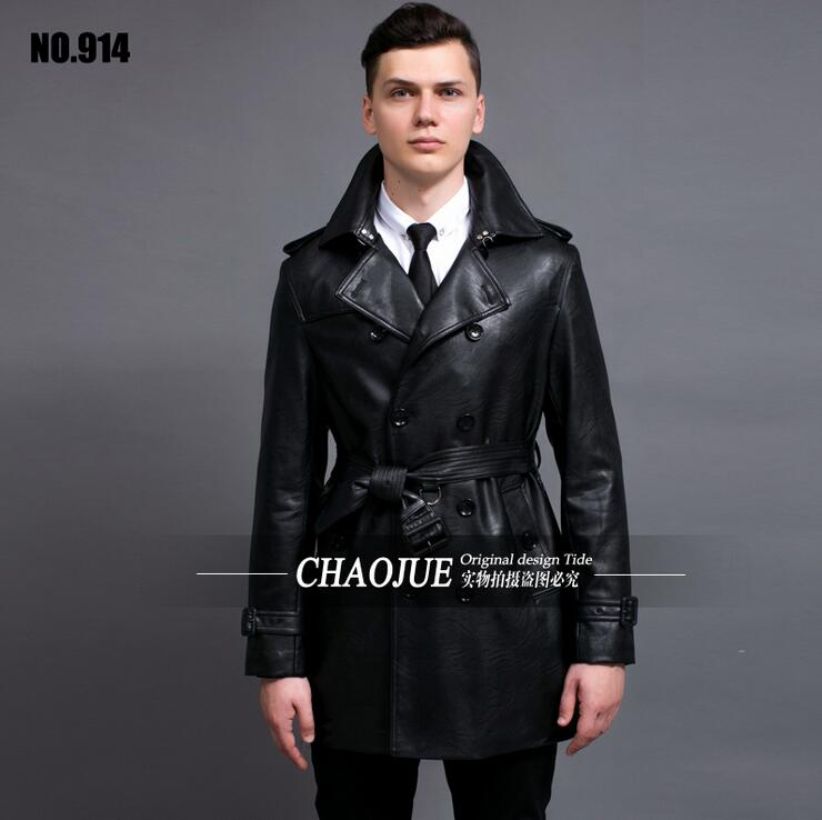 Hot 2016 New Motorcycle Leather jacket High Quality Brand Man Fashion Leather Trench coats Men Casual
