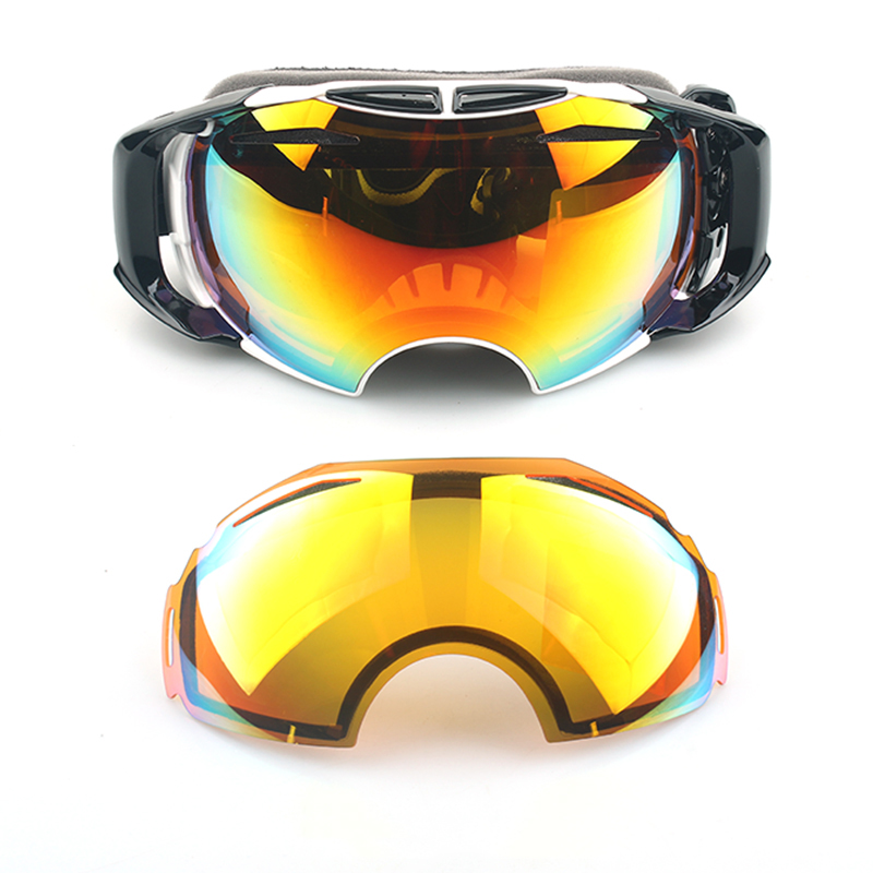2 Lenses UV400 Anti Fog Reflect Ski Goggle Real Mirror Snowboard protective Men Women Snow Skiing Glasses