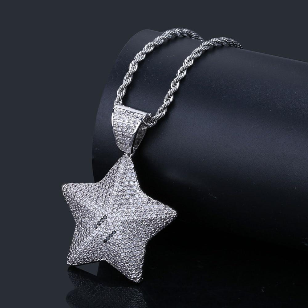 estrela pingente colar encantos para homens iced