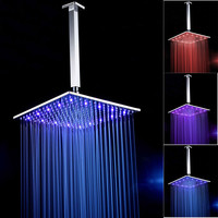 Contemporary Square LED Rainfall Shower Head 16 Inch Chrome Brass 9.5