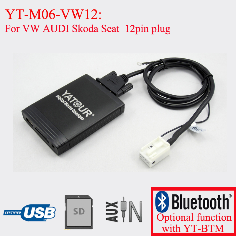 Yatour car radio USB SD Bluetooth MP3 emulator for Skoda  Super B Octavia 12pin plug car usb sd aux adapter digital music changer mp3 converter for skoda octavia 2007 2011 fits select oem radios
