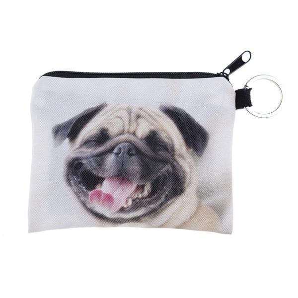 Unisex Cute 3D Bulldog Print Coin Purse Money Bag Square Zipper Wallet Animal Dog Pouch Handbag for Women Men Girlfriend Gifts
