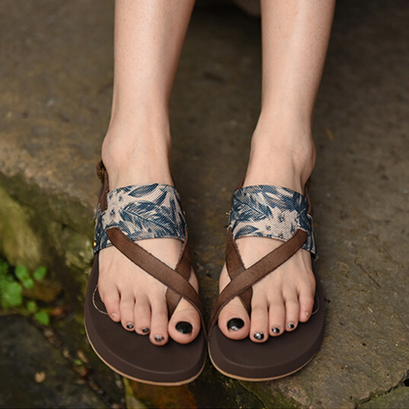 2018 summer sandals women flip flops casual shoes Original and unique handmade leather Rome sandals flat with peep toe trendy women s sandals with flip flops and strap design