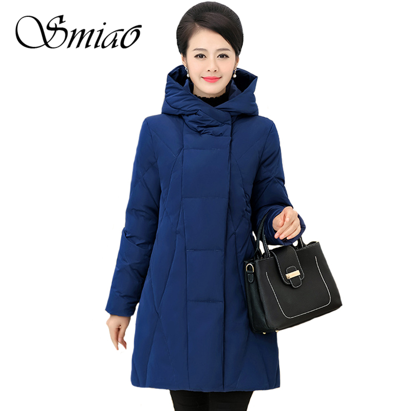 Warm Thicken Middle-aged Women Winter 65% White Duck Down Jackets Hooded Plus Size 5XL Female Coat Winter Long   Parka   For Mom