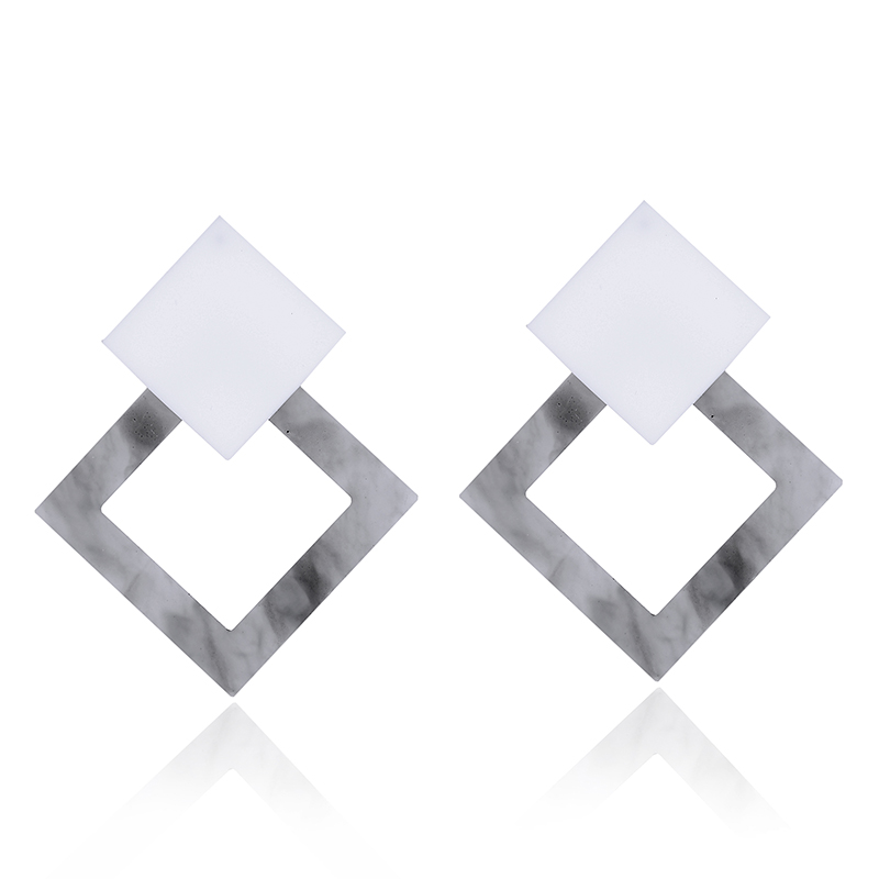 2018 Punk Style Square Pendant Dangle Earring Trendy Women Jewelry Christmas Gift Novelty Hollow Metal Square Frame DropEarring
