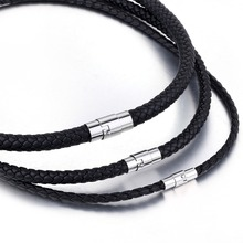 Men's Leather Necklace Black Choker Braided Rope Chain Necklace For Men Stainless Steel Clasp Male Jewelry
