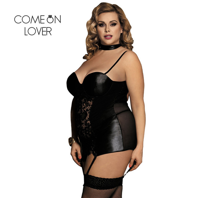 RI80385 Women Gartered Lingerie Lace Transparent Black Collared Chemise Big Size Sexy Night Sleeping Dress Faux Leather Lingerie 1