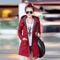 Winter Women Coat 2017 Parka Casual Outwear Wine red Hooded Coat Woman Clothes Coats manteau femme Winter Jacket Women