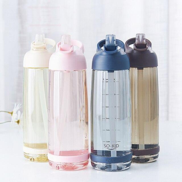 1000 ml Outdoor Water Fles met Stro Sport Flessen Milieuvriendelijke met Deksel Wandelen Camping Plastic BPA Gratis H1098