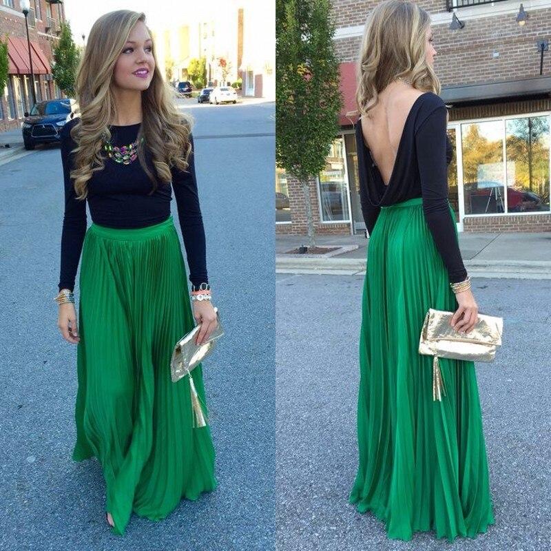 Симпатичная зеленая плиссированная юбка на молнии с талией, длиной до пола, длинная шифоновая юбка