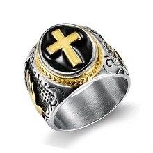 Хип-хоп винтажное серебряное Золотое черное двухцветное кольцо-печатка со священным крестом молитва христианский Иисус религиозный коктейль валентинка Размер 7-15