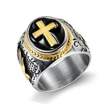 Hip hop w stylu Vintage srebrny złoty czarny dwa-Tone świętego krzyża sygnet pierścień modlitwa Christian jezus religijny koktajl Valentine rozmiar 7-15 tanie tanio titi zheo Ze stali nierdzewnej Mężczyźni Metal Strona Punk 43534684