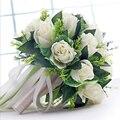 Handmade Новый Свадебное Платье Невесты Букет Невесты Букеты Белый Зеленый Искусственные Цветы Розы рука Цветок Home Decor