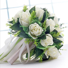 ФОТО handmade new wedding bridal bridesmaid bouquet bride bouquets white green artificial rose flowers hand holding flower home decor