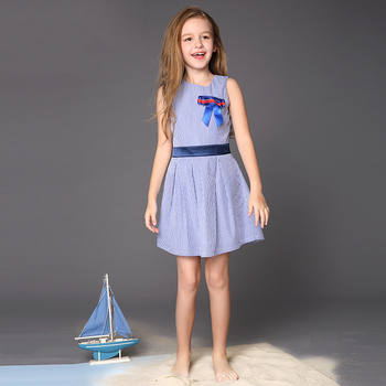 Female Boy Blue striped vest dress
