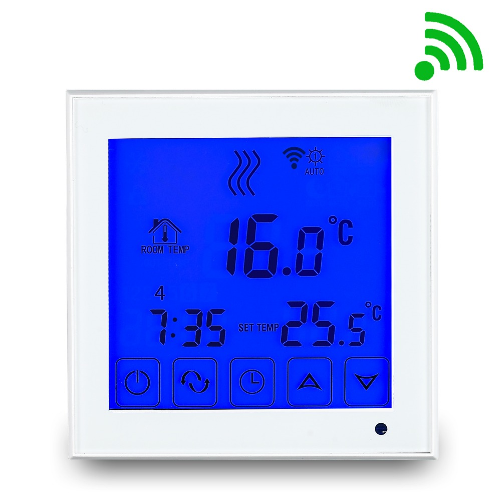все цены на Free shipping Wifi Large Touch Screen room thermostat floor heating 16A Android and iPhone APP онлайн