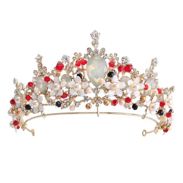 Pink flower crystal pearl wedding tiara bridal crown for wedding bride gold  color rhinestone crown headband 60916aeeb2ed