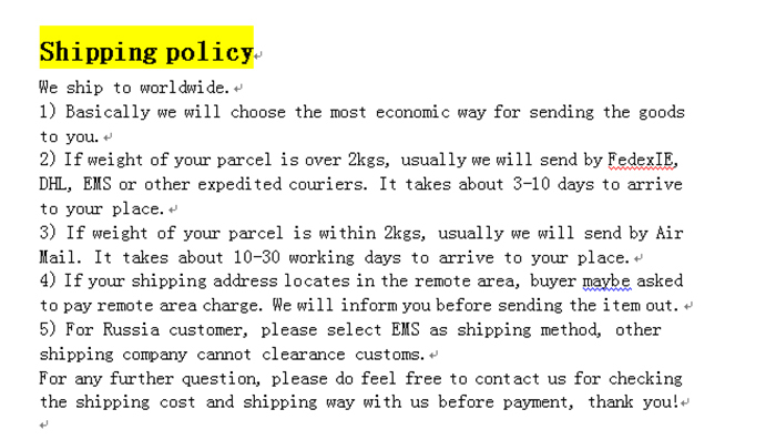 Shipping-policy
