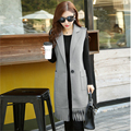 2017 Fall New Women's Fashion Long Woolen Vests Female Sleeveless Tassel Large Pockets Single Button Slim Outerwear Waistcoat