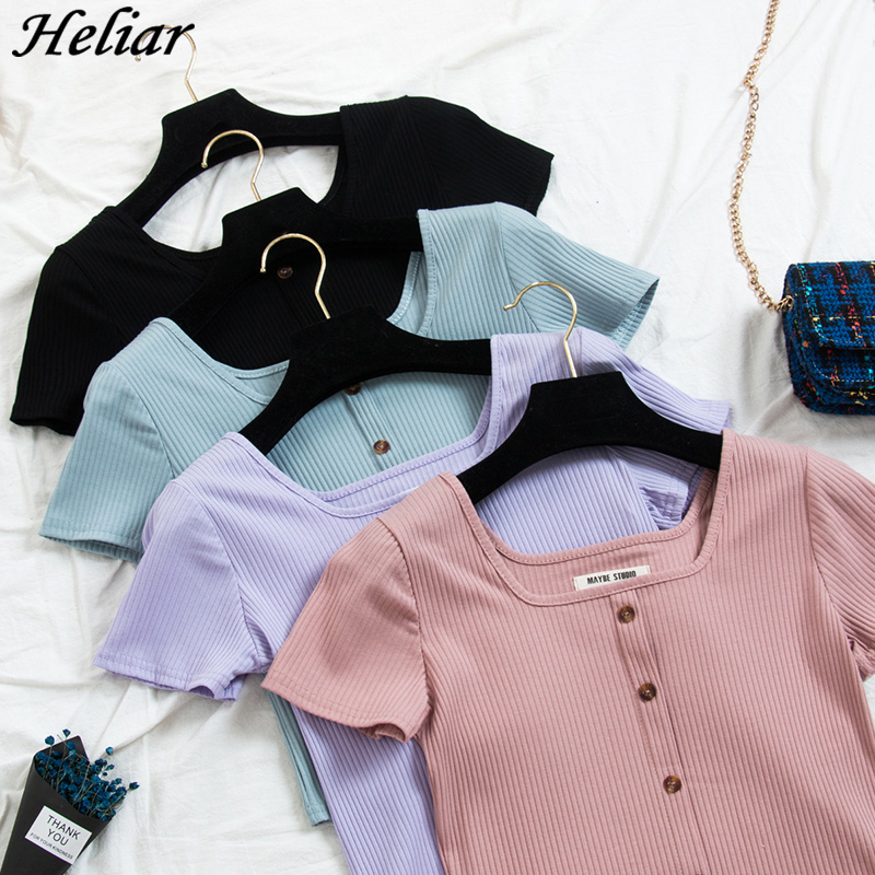 HELIAR 2019 Summer Women T-shirt Square Collar Knitting T-shirt With Button Cotton Ladies Fashion Solid T-shirt Short Sleeve