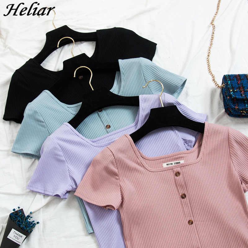 HELIAR 2019 été femmes T-shirt col carré tricot T-shirt avec bouton coton dames mode solide T-shirt à manches courtes