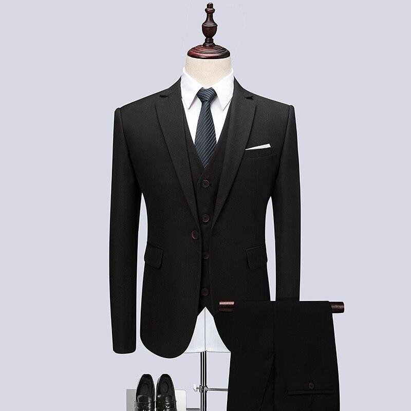 3 шт. черный костюм Для мужчин качество Новое праздничное платье Для мужчин костюмы Slim Fit One Button Solid Бизнес праздничная одежда смокинг Для муж...