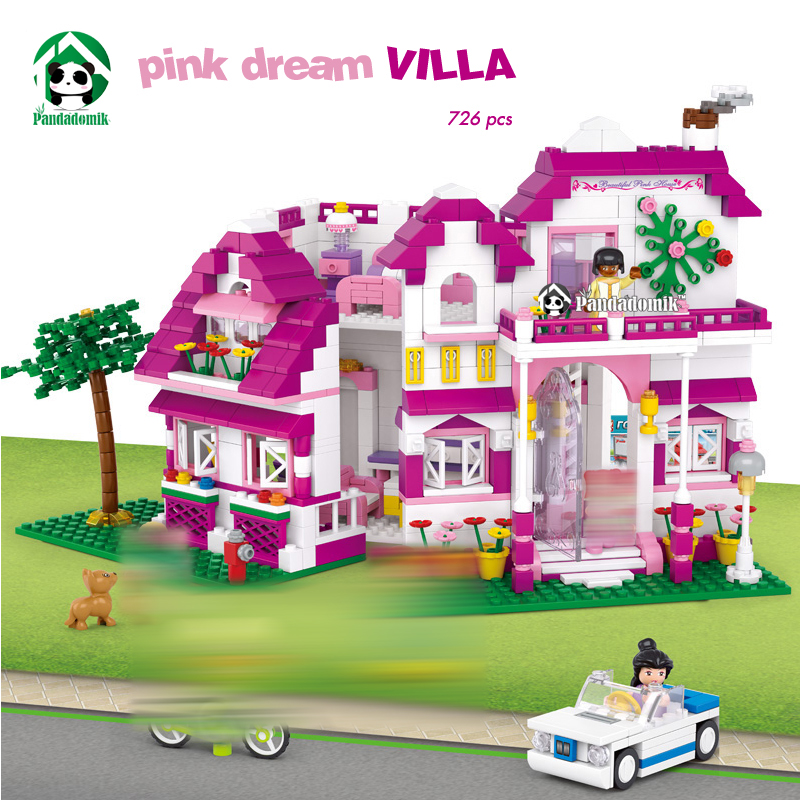 Pink Dream Villa Building Blocks Set 726 Pcs 6 Toy Figures Dolls Friends House Building Toy Bricks Toys for Girls Gift 2017 hot sale girls city dream house building brick blocks sets gift toys for children compatible with lepine friends