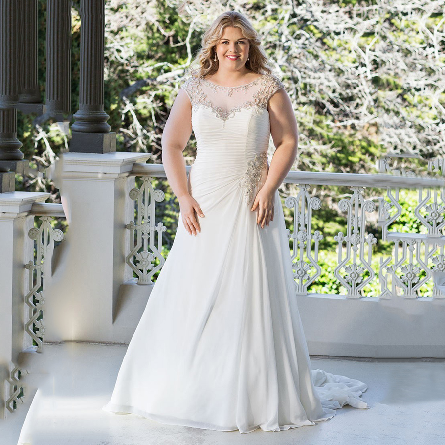 plus size modest wedding dresses country western a line cheap chiffon bridal gowns beaded 6676