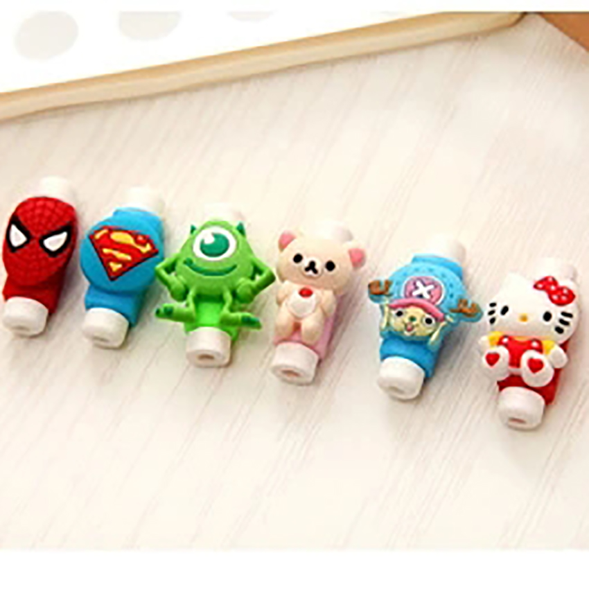 Funelego 2 6 Pieces New Cable Protector For IPhone Phone USB Cables Cartoon Style Cover D5 Plastic For Charger Wire Protect