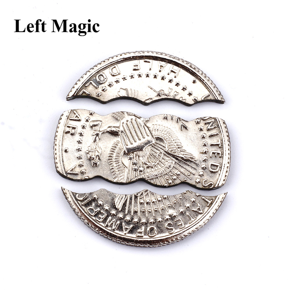 Coin In Beer Bottle Two Folding Coin Bite Coin Dollar Version Magic Tricks Magic Props Magic Toy B1012