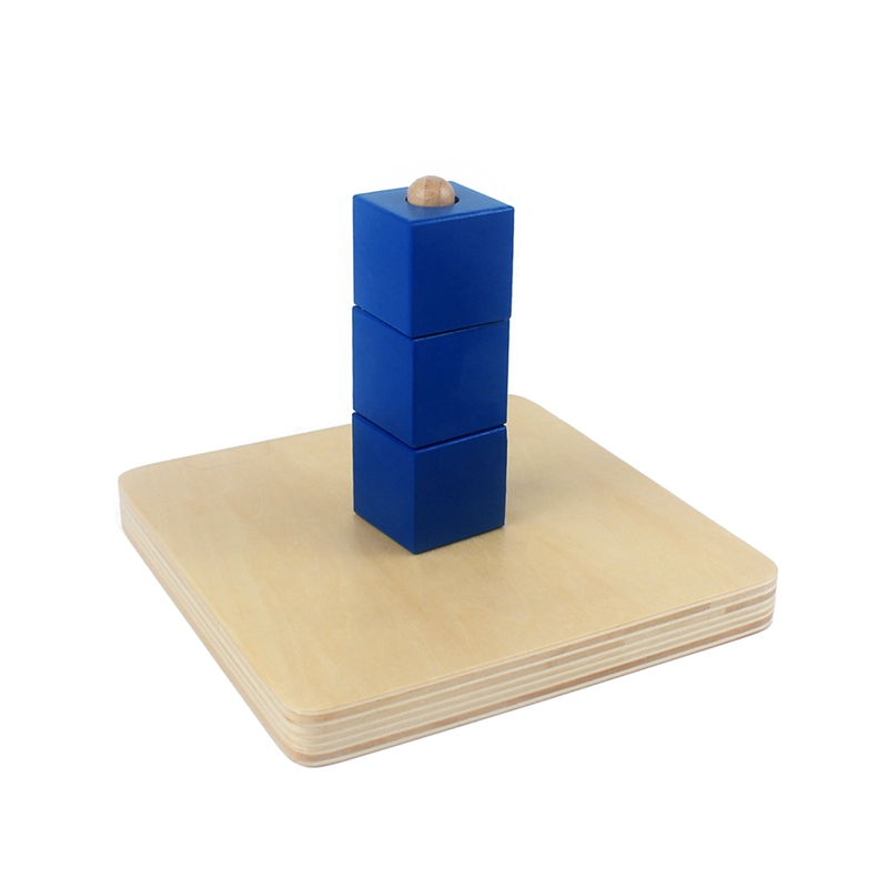 Kids Toy Montessori Materials Sensorial Baby Wood Blue Cube Socket Learning Educational Preschool Training Brinquedos Juguets