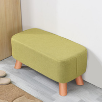 Solid wood shoe bench low stool fashion fabric bench living room sofa stool creative shoes stool
