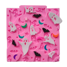 Halloween Ghosts Bats Moon Star Cake Decorating Tools Clay Mold Silicone Lace Stencils For Cakes Bakeware SK070059